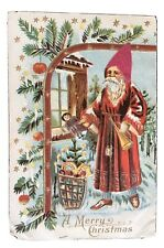 Vintage Christmas Postcard - Olde Worlde Santa in Satin Hat 1910