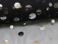 Black Net Fabric with Scattered Silver Sequin, 2 metres, Dance, Costume, New
