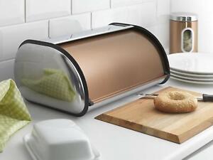 Copper Effect Bread Bin Rose Gold Kitchen Storage Home Decoration