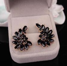1 Pair Black White Rhinestone Crystal Wing Flower Drop Ear Stud Earrings Jewelry