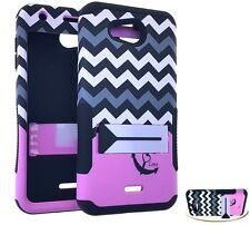 Kyocera Hydro Wave / Air - HARD&SOFT RUBBER HYBRID SKIN CASE PINK CHEVRON ANCHOR