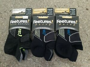 Feetures brand athletic socks 3 pairs no show tab size large
