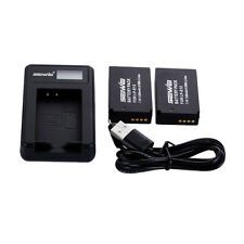 2Pcs Li-ion Battery for Canon EOS M 100D Rebel SL1 / LP-E12 + USB LED Charger