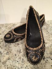 Jack Rogers Slim Jute Ballet Flats Shoes Indiana Calf Black 7 M $198 New