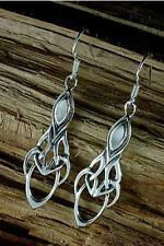 Sterling Silber 925 Keltischer Ohrschmuck mit Perlmutt,groß, Ohrhänger, Ohrringe