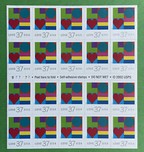Scott #3657 LOVE Abstract Sheet of 20 US 37¢ Stamps MNH 2002