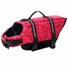 Pet Life Jacket Red Bright Reflective Strip Adjustable Straps Dog Life Preserver