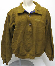 Patagonia OLIVE FLEECE 4-BUTTON Pullover Ladies MED 1990 usa made vtg PurpleTrim