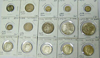 Lot of 15 World Silver Coins 1889-1972 Britain Germany Sweden Bolivia Canada