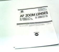 Bedienungsanleitung Minolta AF Zoom Lenses 35 -80 mm 1:4-5,6 Objektiv
