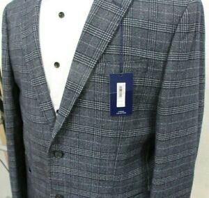 Men's T.M.Lewin Coppi Slim Fit Jacket In Denim Wool Blend Check Ref...7580