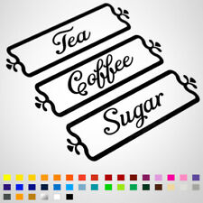 Tea, Coffee, Sugar Kitchen Jar Canister Decal Stickers