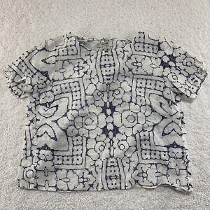Madewell Linen Top XS White Blue Womens Short Sleeve Open Back Floral Shirt EUC