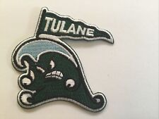 "TULANE GREEN WAVE Embroidered Iron On Patch Old Stock 3"" X 2.5"""
