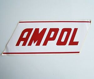GENUINE VINTAGE 43x17cm AMPOL PETROL GAS STATION PUMP LOGO ADVERTISING STICKER