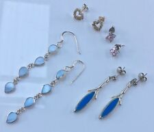 Bulk Estate Lot Sterling Silver .925 Earrings With Stones Lapiz New & Used