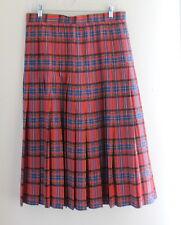 DESIGNER -Exquisite Red Silk Tartan Plaid Pleated Full Skirt -Sz 12/14 L