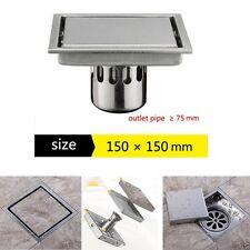 150mm Bathroom Shower Square Tile Insert Floor Drain Waste 304 Stainless Steel