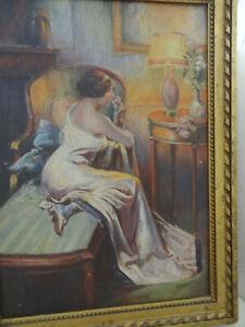 huile sur toile art deco femme au  canape signe a identifier