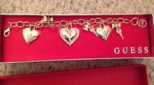 Guess signature gold Tones bracelet heart Love charms New NWT