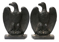 EMIG American Eagle Pennsylvania Dutch Colonial Cast Iron Bookends Black