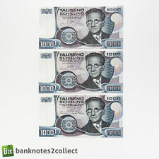 AUSTRIA: 3 x 1,000 Austrian Schilling Banknotes with Consecutive Serial Numbers.