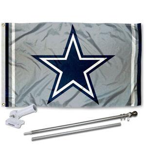 Dallas Cowboys Silver Flag Pole and Bracket Kit