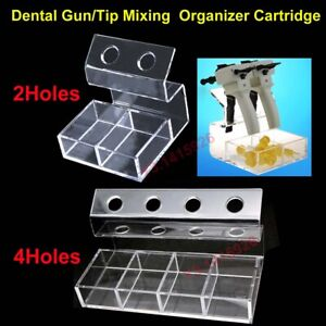 2/4Hole Dental Impression Cartridge Delivery Dispenser Gun Mixing Tips Organizer