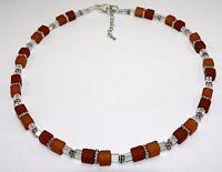 Halskette Kette Cube hellbraun - dunkelbraun braun  AB Würfel silber 203h