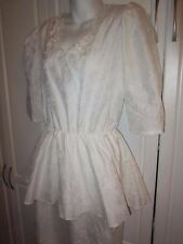 Woman's Vintage 1980's Peplum White Dress With Lace Accents brocade Like Floral