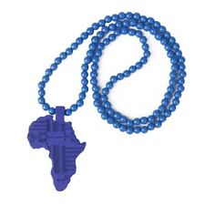 Hip Hop Wooden African Map Piece Africa Pendant Wood Rosary Bead Chain Nec Z8P1