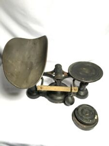 Antique Fairbanks Scale w/ Weights & Tray - 1 and 2 pound weights - cast iron