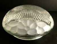 """Vintage Clear W/Frosted Floral Pattern Ceiling Light Shade Cover 5 7/8"""" Fitter"""