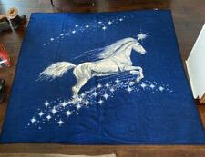 New listing Vtg Biederlack Blanket Unicorn Moonlight Clouds Usa Blue Cream 55� x 73� Rare