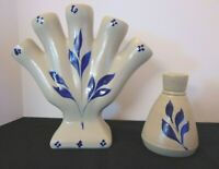 Vintage WILLIAMSBURG POTTERY Handmade Salt Glaze Finger Vase & Bud Vase