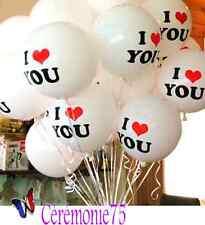 """LOT DE 2 BALLONS BLANCS """"I LOVE YOU"""" DECORATION MARIAGE SAINT VALENTIN"""
