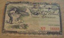 "Vtg 1926 'State of California' ""Angling License""~Nice Fishing Graphics~"