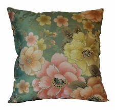 "Beige Pink Green Floral Silk Feel Shimmering Fabric 20"" X 20"" Cushion Cover"