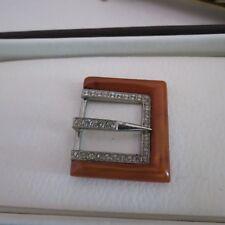 Vintage belt buckle butterscotch Bakelite with diamantes