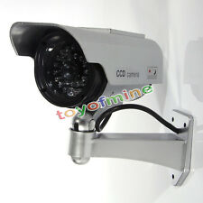 Solar Power Fake Outdoor Dummy Security Home CCTV Camera LED Light Waterproof H