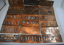 Rare Vintage Copper Stencils - 21 Plates Letters, Alphabets, Numbers and Symbols
