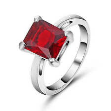 Red Ruby CZ 18k White Gold Filled Wedding/Engagement  jewelry Ring Size 9