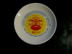 "RARE 1969 AFL FOOTBALL CHAMPIONSHIP GAME CERAMIC PLATE 4 1/4"" CHIEFS RAIDERS,NEW"