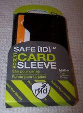Travelon Leather Safe ID Card Sleeve RFID Protection BLACK ~ NWT
