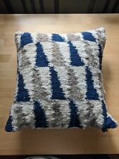 Blue Tan wool canvas decorative pillow with white down feather from Mayan store