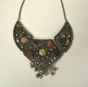 STATEMENT ANTIQUE INDIAN GYPSY METAL STONE ENGRAVING COLLAR NECKLACE BROWN MIX