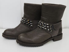 Pedro Garcia Womens Kian Fox Brown Leather Crystal Studded Biker Boots Size 5/35