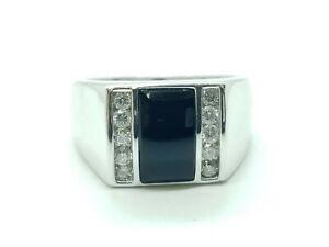 Mens 14K WHITE GOLD Onyx Diamond Ring 1/2 CTW Gents Large Heavy SIZE10.5 10.2G