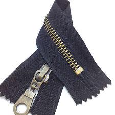 Antique Brass Closed End No5 Metal Zip  - Heavy Duty Zipper, Black, Brown, Navy