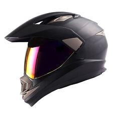 Dual Sport Motorcycle Motocross MX ATV Dirt Bike Full Face Helmet Matt Black DOT